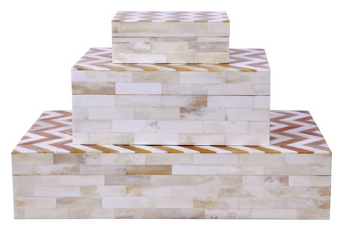 Chevron Natural Wave Bone Box (Series 07)