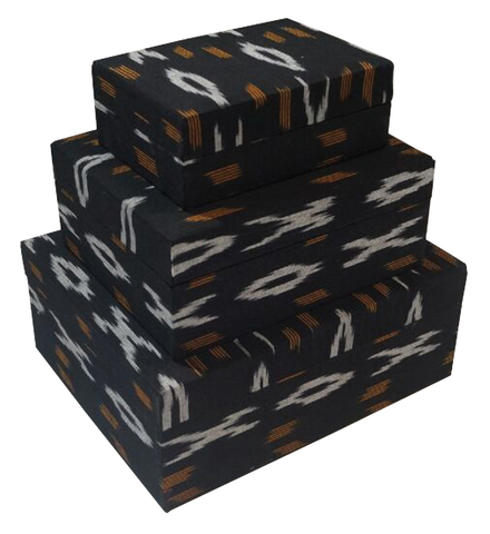 IKAT Fabric Tan Black White Box 010