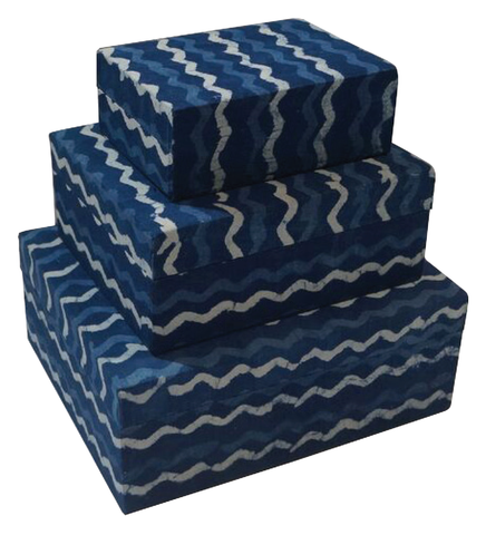 IKAT Fabric Box Blue 009