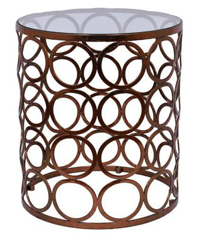 CIRCLES SIDE TABLE - Copper Leaf