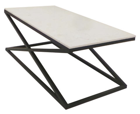 ATLANTA COFFEE TABLE - Black Metal Legs, White Marble