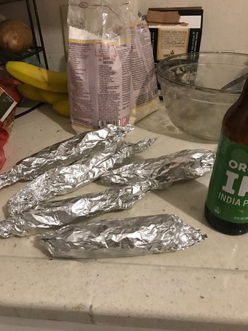 vegan sausage in foil