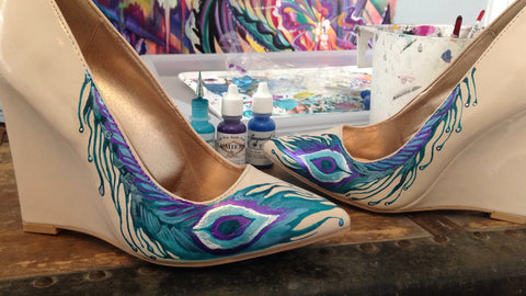 peacock painted wedding shoes