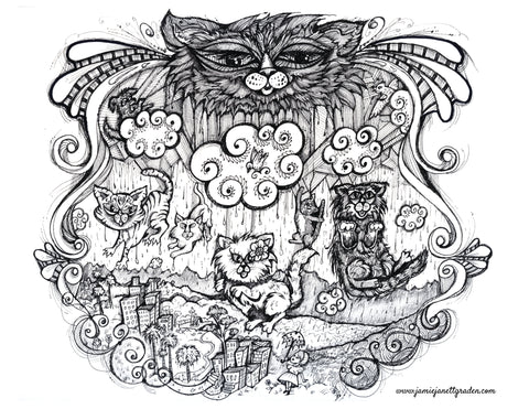 raining cats coloring page
