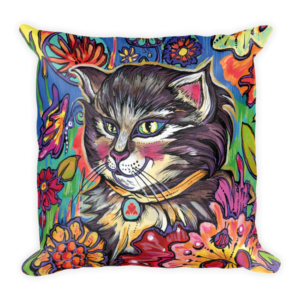 Garden Kitty Pillow