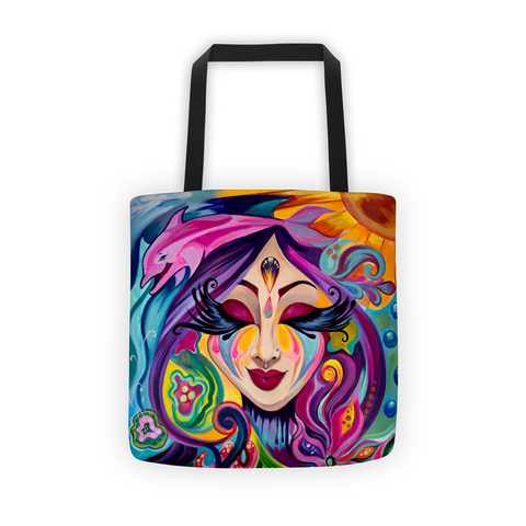 """Goddess Underwater"" Art Canvas Tote Bag"