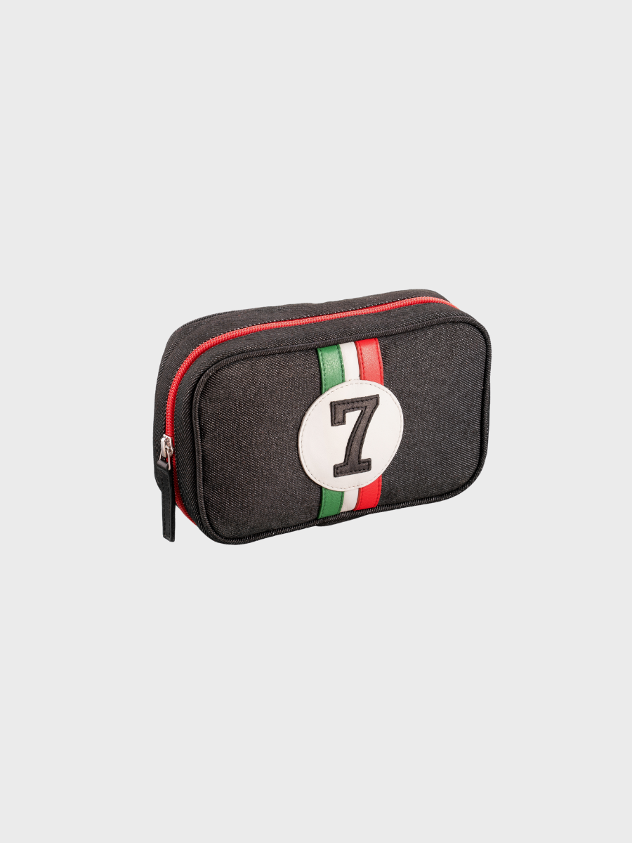 Men's Toiletry Bag 24h Entre 2 Retros Made Of Upcycled Car Seat Fabric