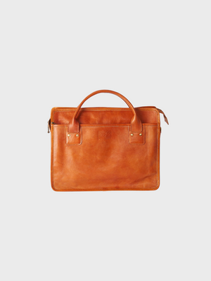 Handmade tan leather computer bag men