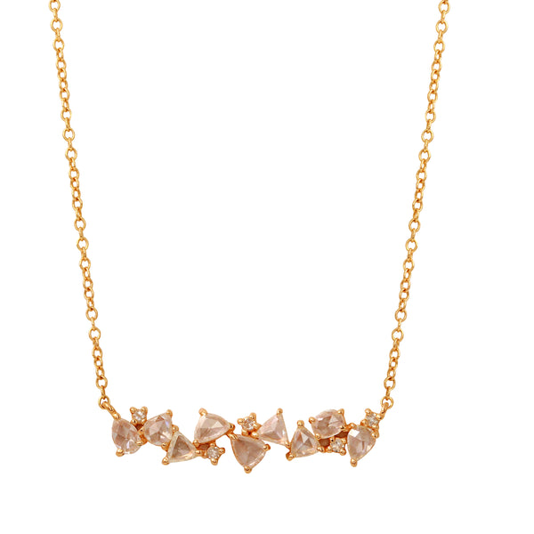 Rose Cut Diamond Bar Necklace