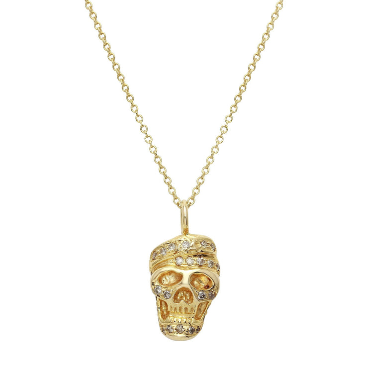 18K Gold and Diamond Skull Necklace
