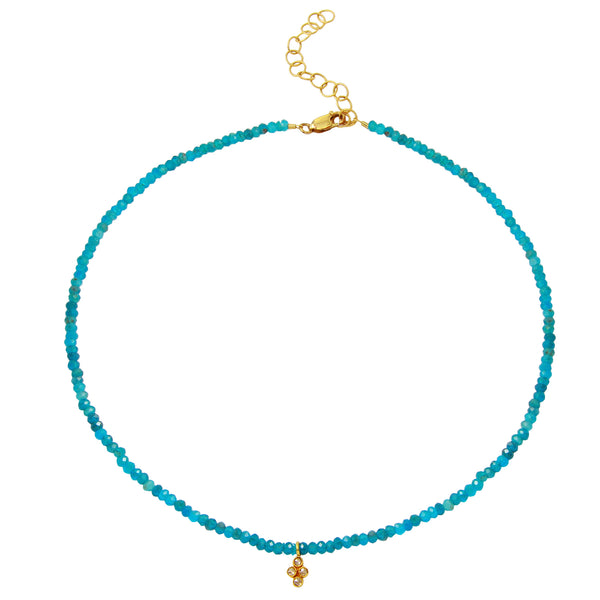 Apatite Choker with Rose Cut Diamond Flower Pendant