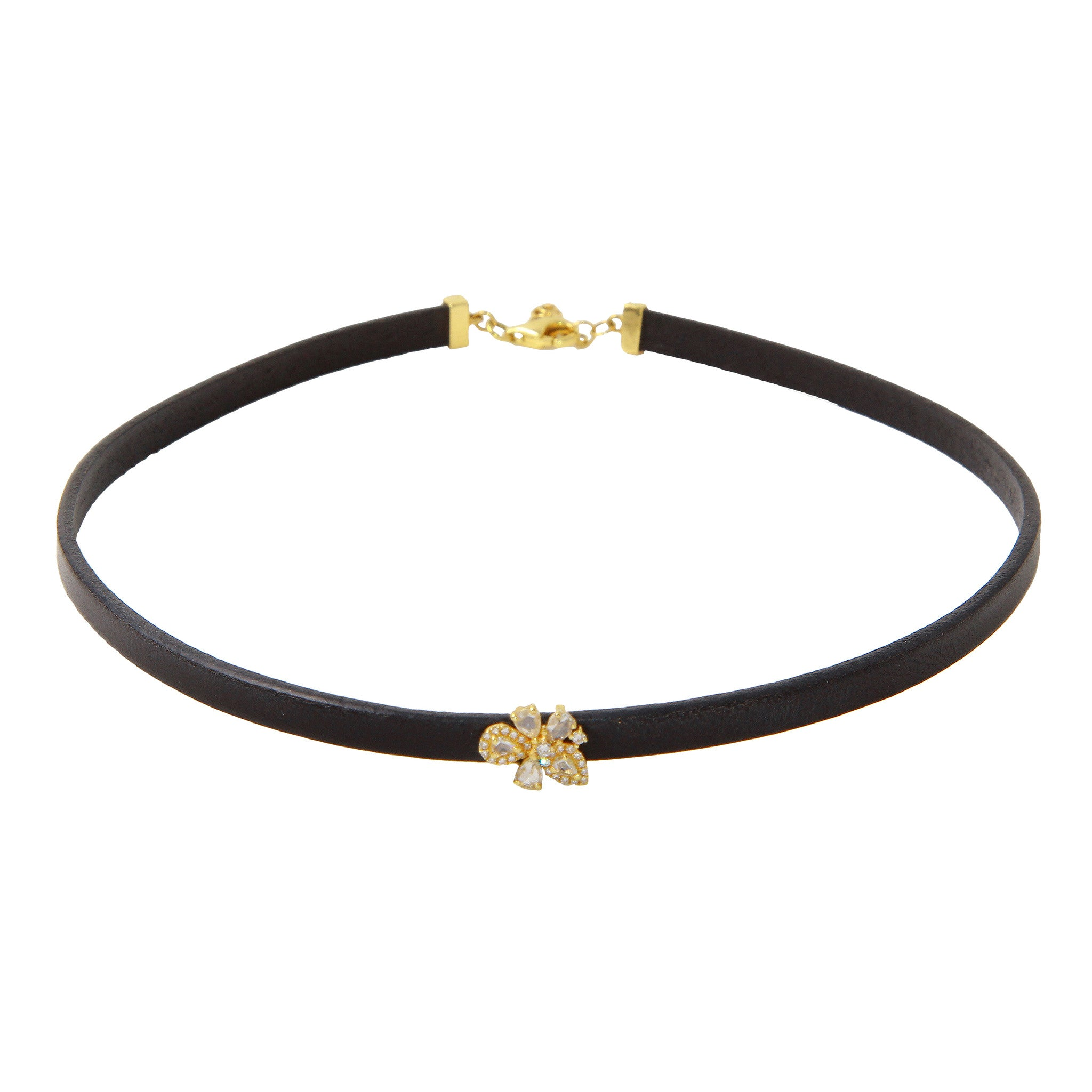 Black Leather Choker with Rose Cut Diamond Flower