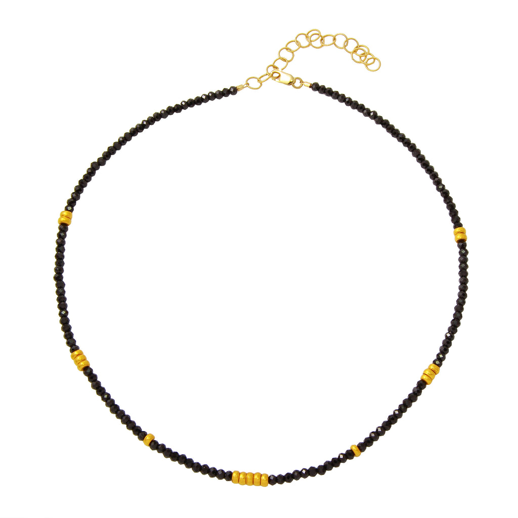 Black Spinel Choker with 18KY Gold Beads
