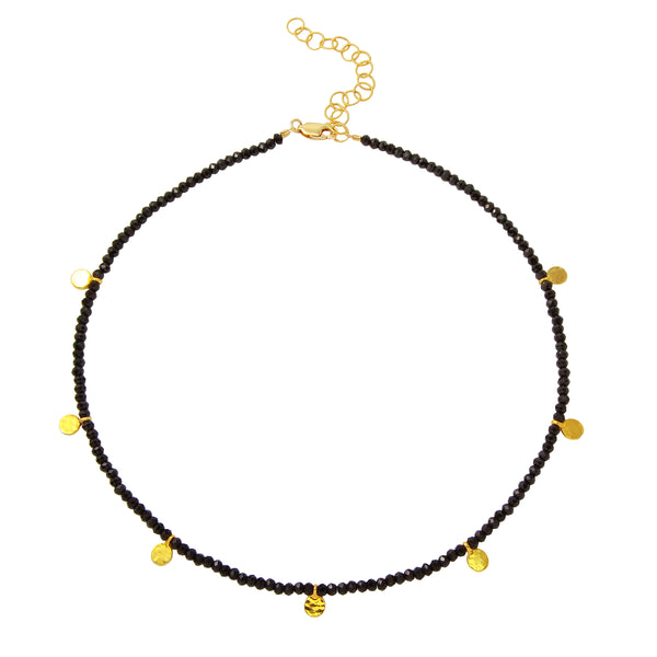 Black Spinel Choker with Yellow Gold Filled Discs