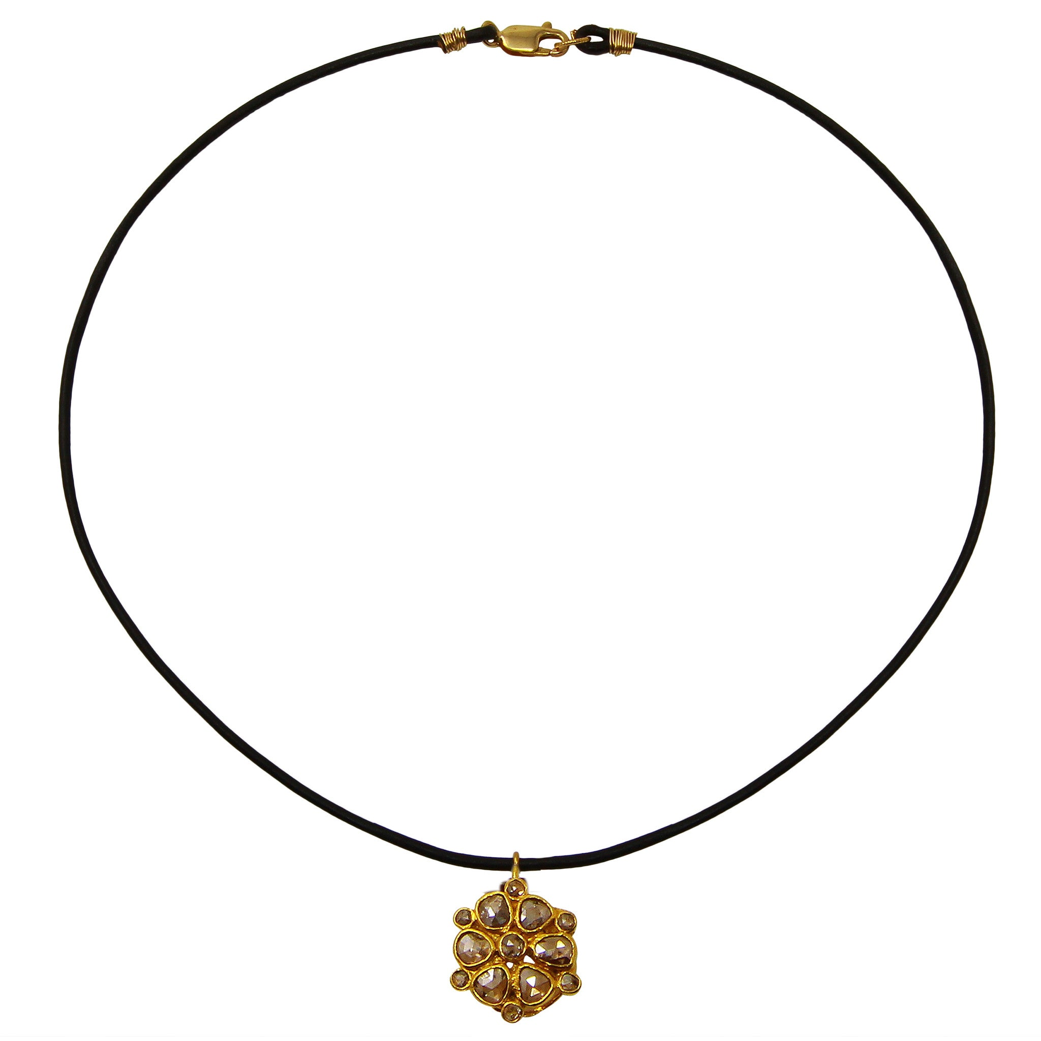 Brown Leather Choker with Rose Cut Diamond Flower Pendant