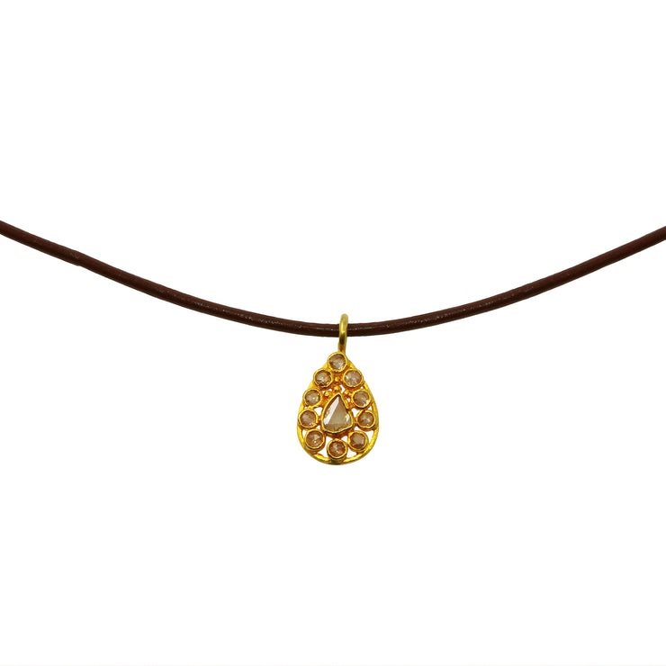 Brown Leather Choker with Rose Cut Diamond Teardrop Pendant
