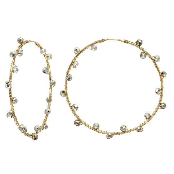 Gold Filled Hoops with Silver Pyrite