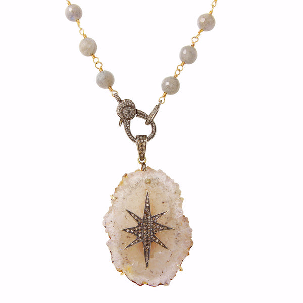 Geode Pavé Diamond Starburst Pendant Necklace