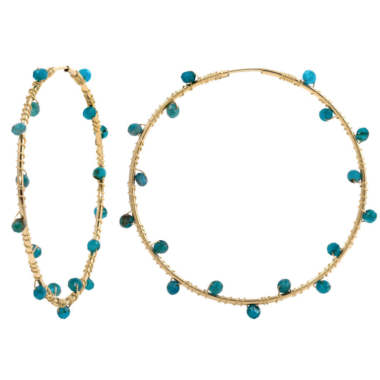 Gold Filled Hoops with Apatite
