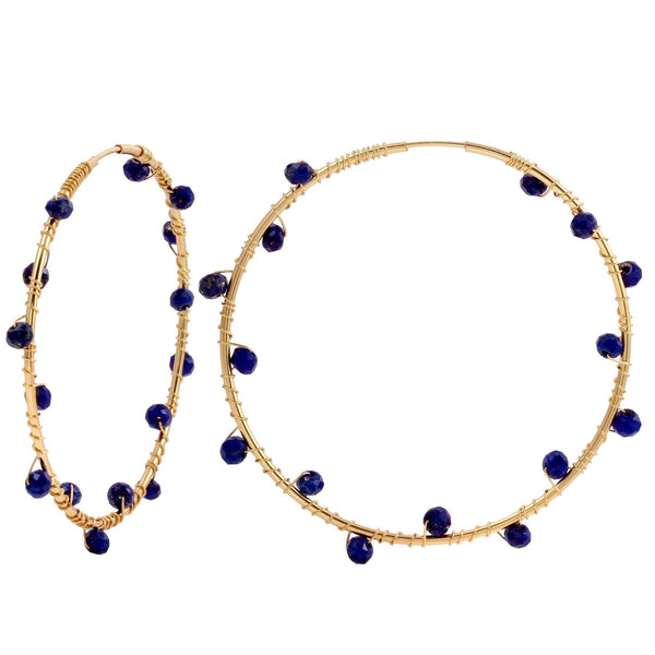 Gold Filled Hoops with Lapis