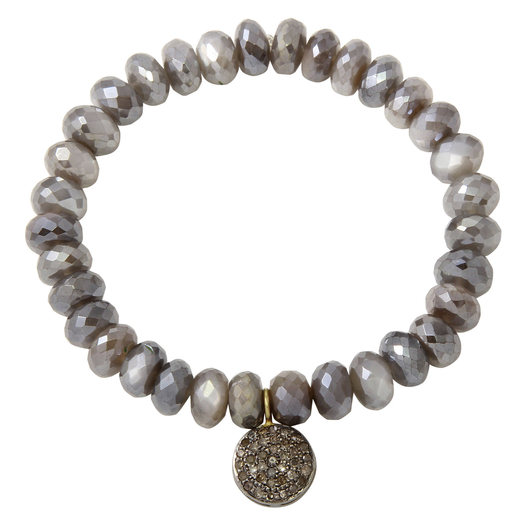 Moonstone Bracelet with Double Sided Pavé Disc