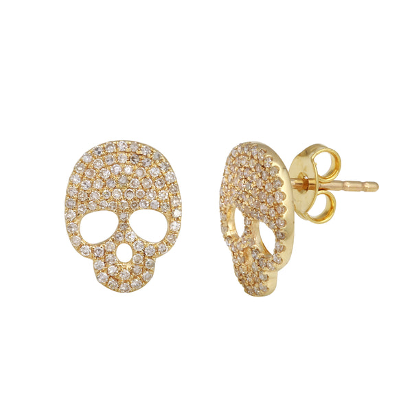 Pavé Diamond Skull Earring