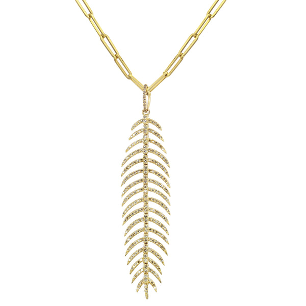 14K Diamond Feather