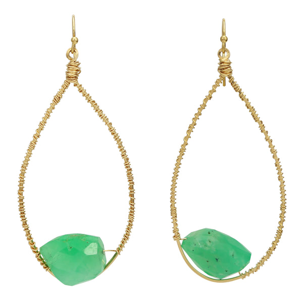 Chrysoprase Teardrop Hoops