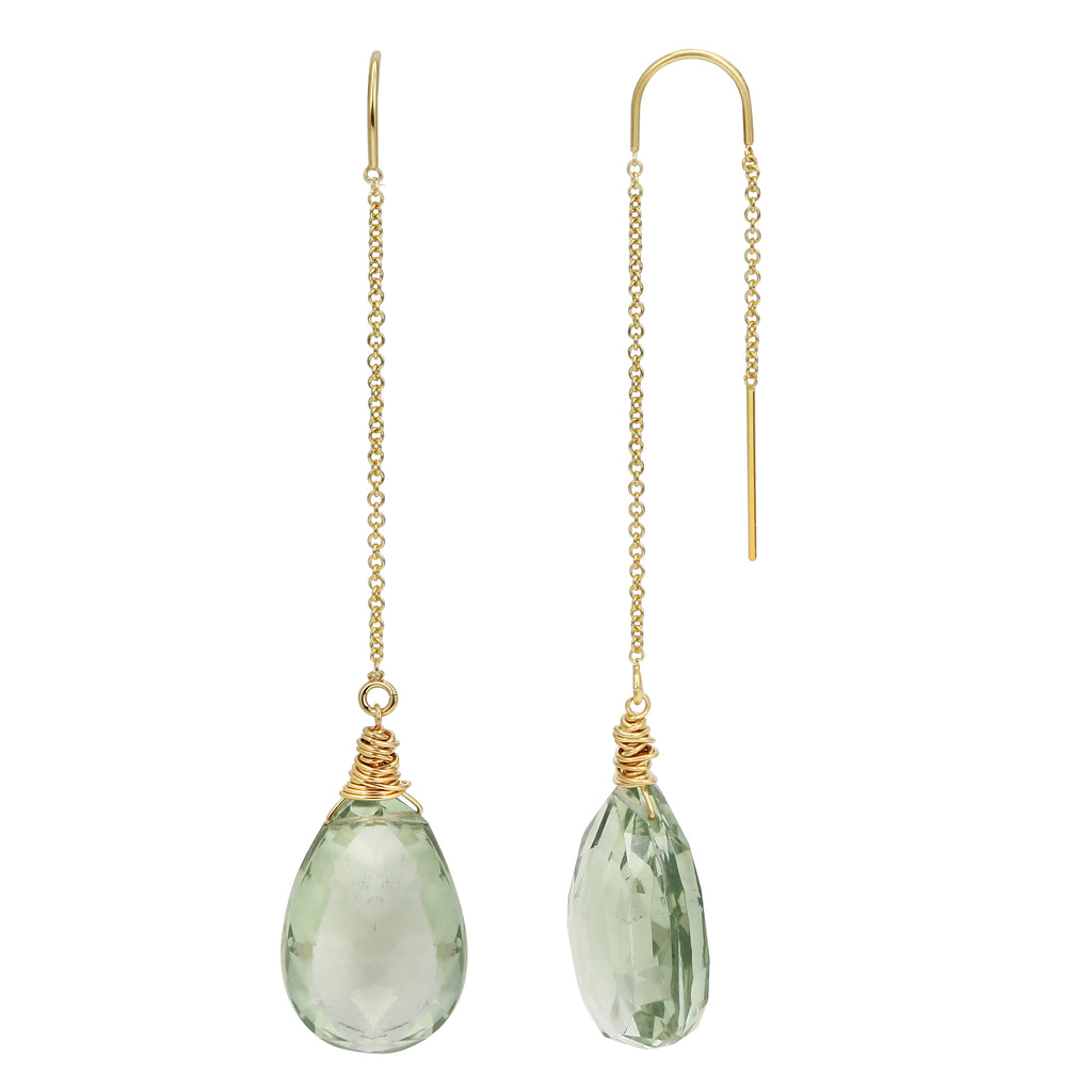 Green Amethyst Drop Threaders
