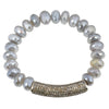 Moonstone Bracelet with Pavé Diamond Bar