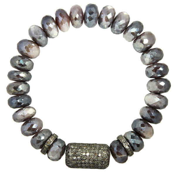 Moonstone Bracelet with Pavé Diamond Beads