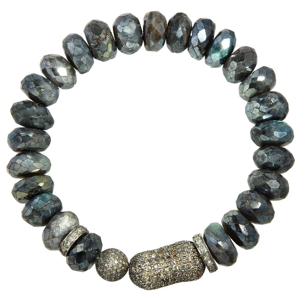 Labradorite Bracelet with Pavé Diamond Nugget and Ball