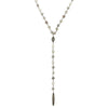 "Grey Moonstone Wire Wrapped ""Y"" Necklace with Diamond Beads"