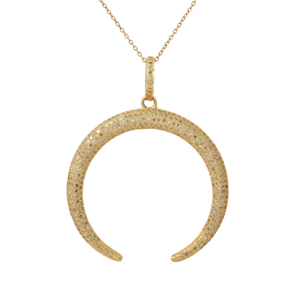Pavé Diamond Double Horn Necklace