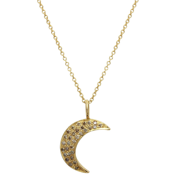 18K Diamond Moon Necklace