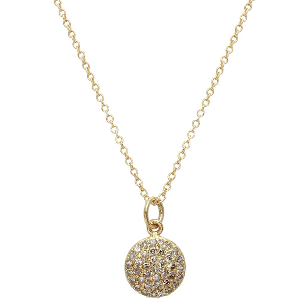 Pavé Diamond Disc Necklace