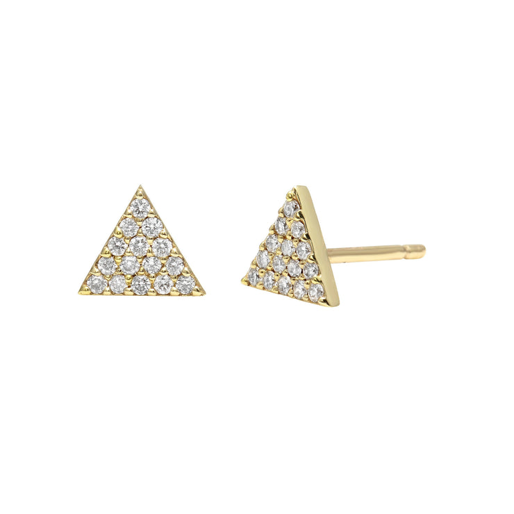 Small Triangle Pavé Diamond Stud Earrings