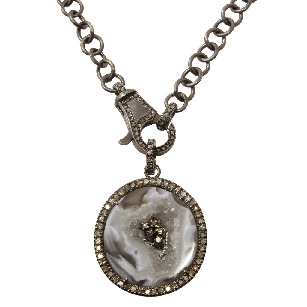 Sliced Agate and Diamond Pendant Necklace