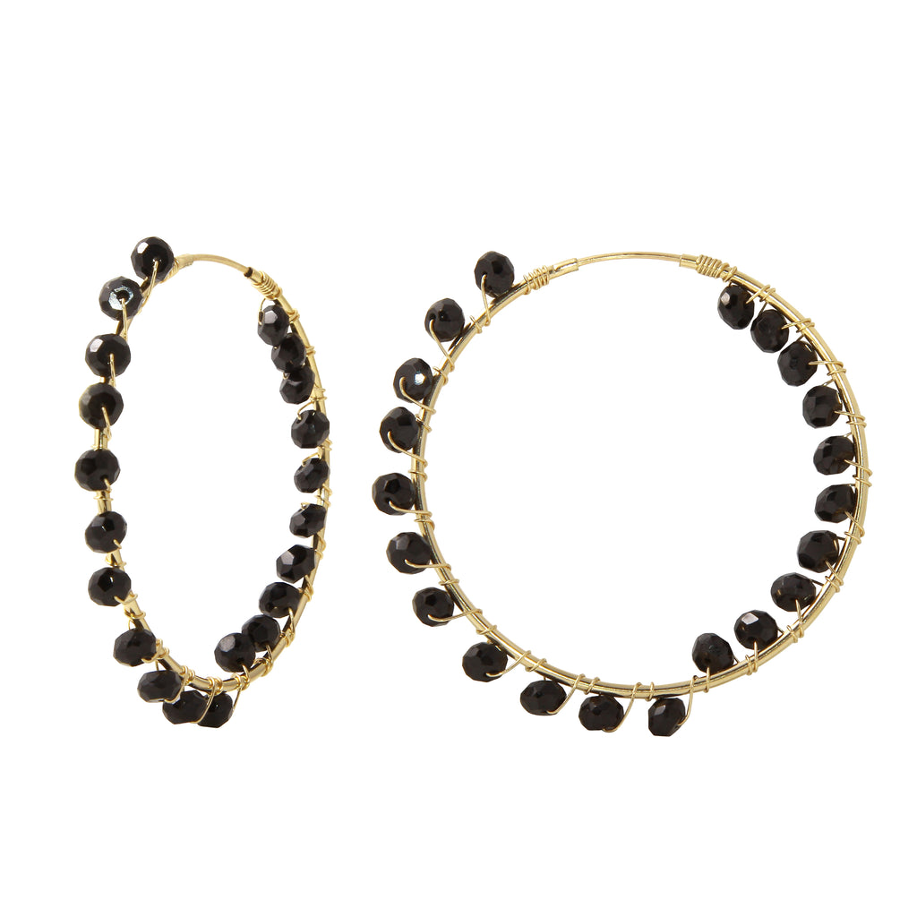 Medium Gold Filled Hoops with Black Spinel