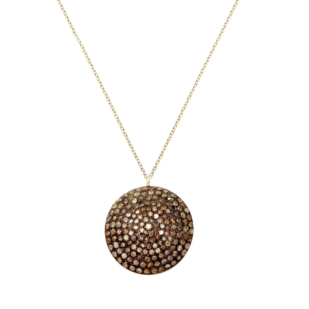 Domed Pavé Diamond Pendant Necklace