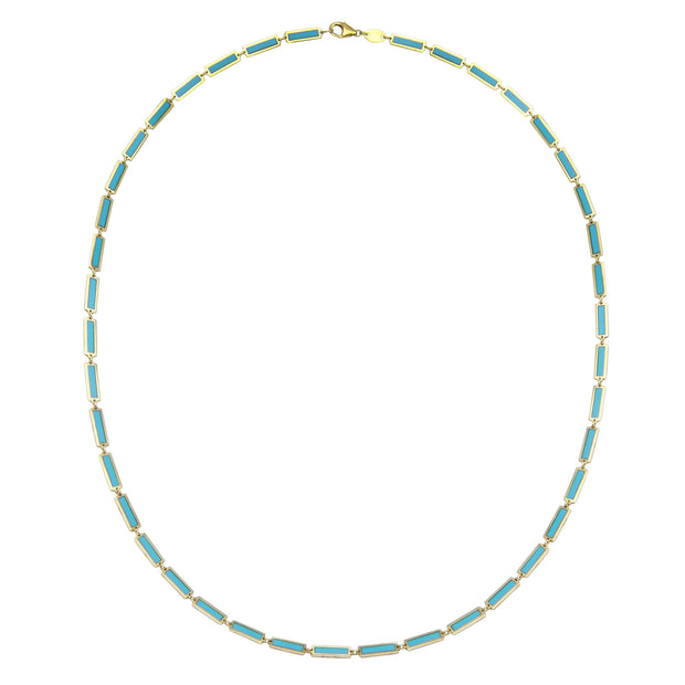 Rectangular Turquoise Inlay Necklace
