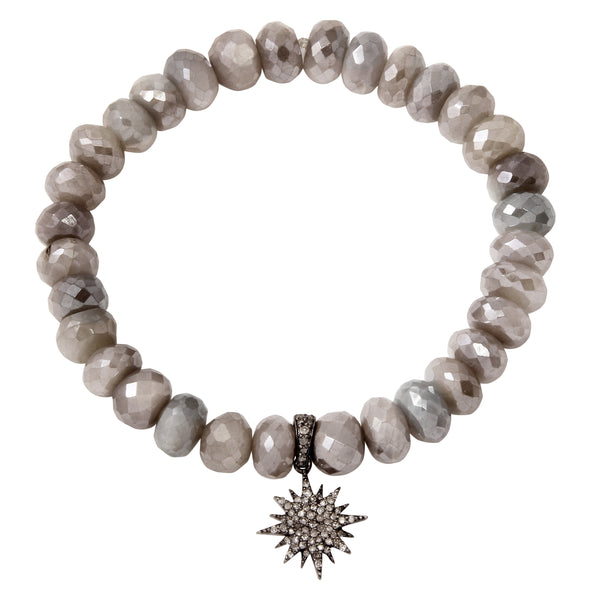 Moonstone Bracelet with Pavé Diamond Starburst Charm