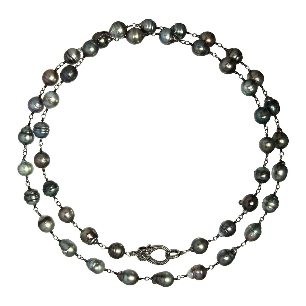 Tahitian Pearl with Diamond Clasp Necklace