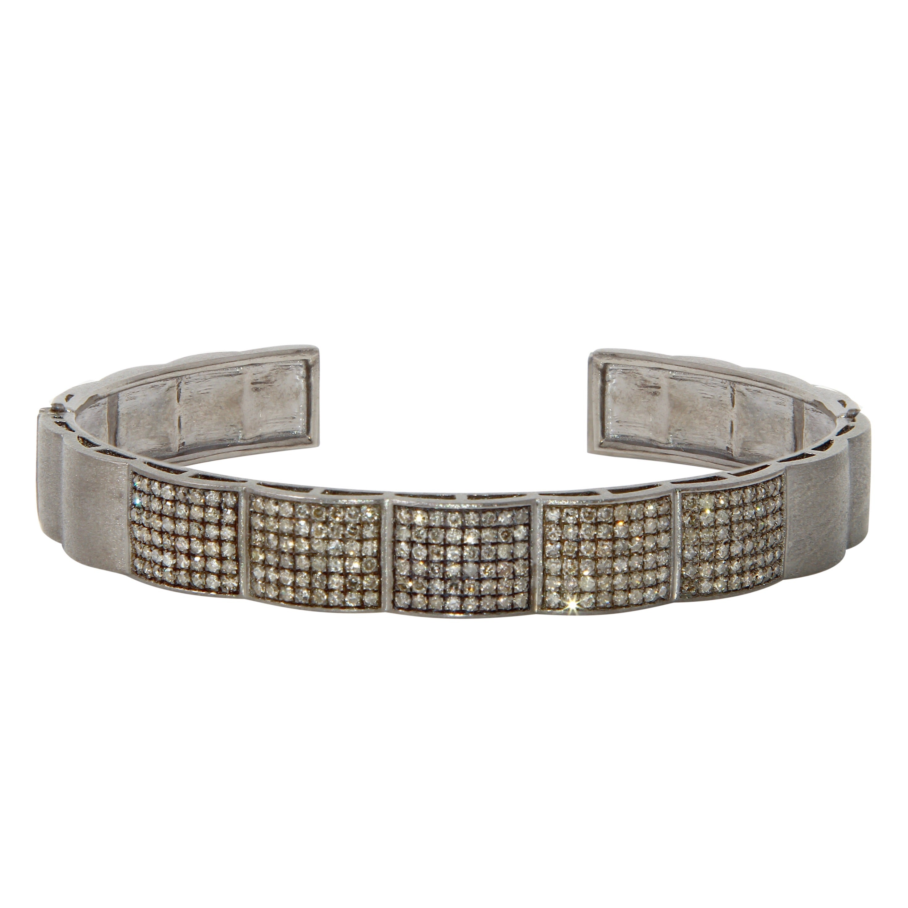 Matte Sterling Silver and Pavé Diamond Cuff
