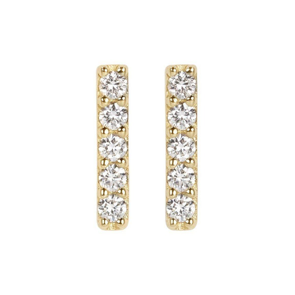 5 Diamond Bar Stud Earrings