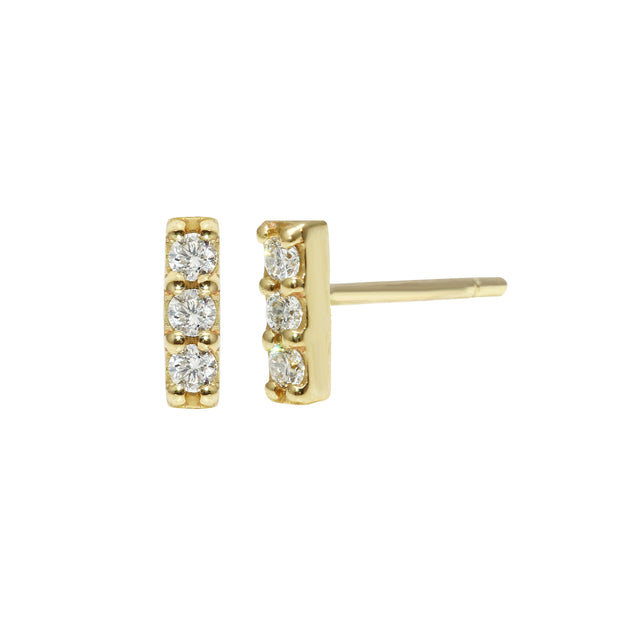 3 Diamond Bar Stud Earrings
