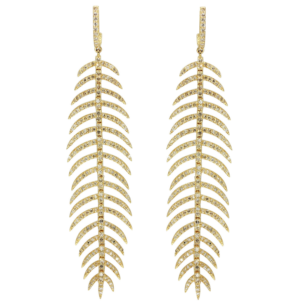 Gold and Diamond Feather Earrings