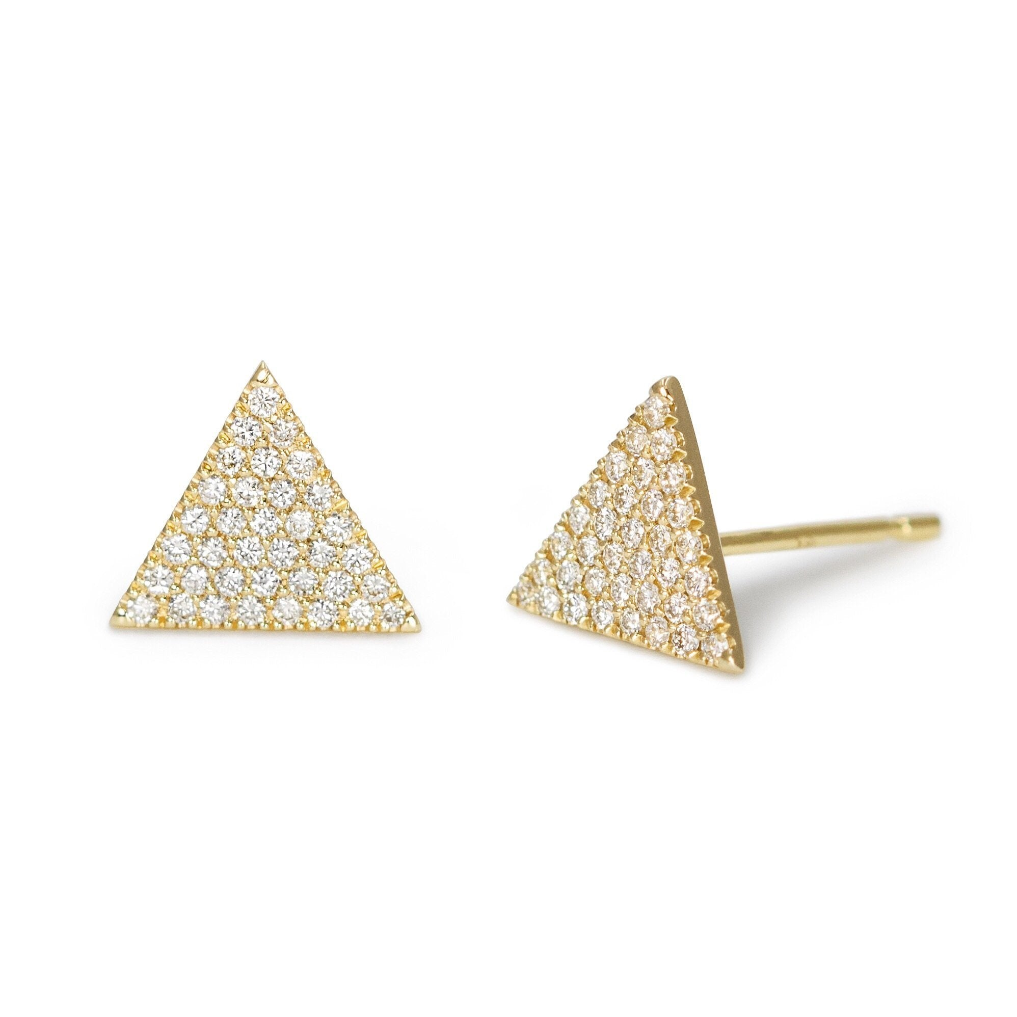 Large Triangle Pavé Diamond Stud Earrings