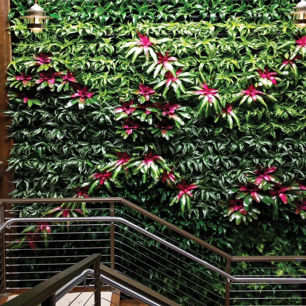 Enliven a stairway with a vertical green plant wall.