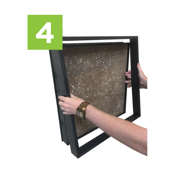 Step Four to install your moss wall art kit - Snap on front of frame.